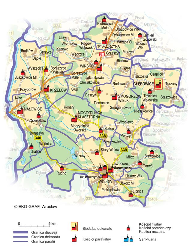 Mapa parafii w Gminie