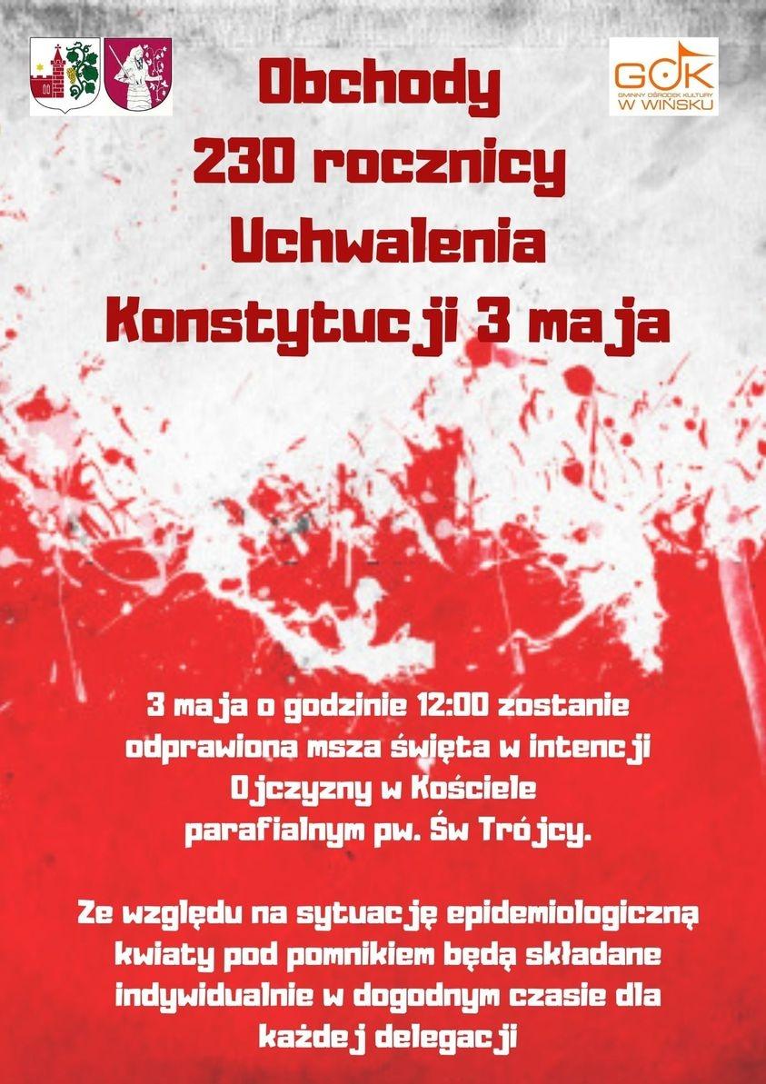 Plakat informujący o obchodach 3 Maja