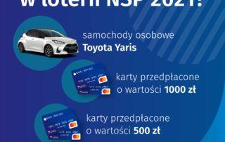 Grafika do informacji co można wygrać w loterii NSA 2021