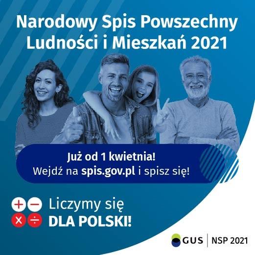 Plakat promujący Narodowy Spis Powszechny Ludności i Mieszkań 2021