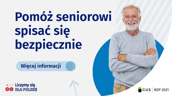 Plakat promujący pomoc dla seniorów podczas Narodowego Spisu Powszechnego 2021