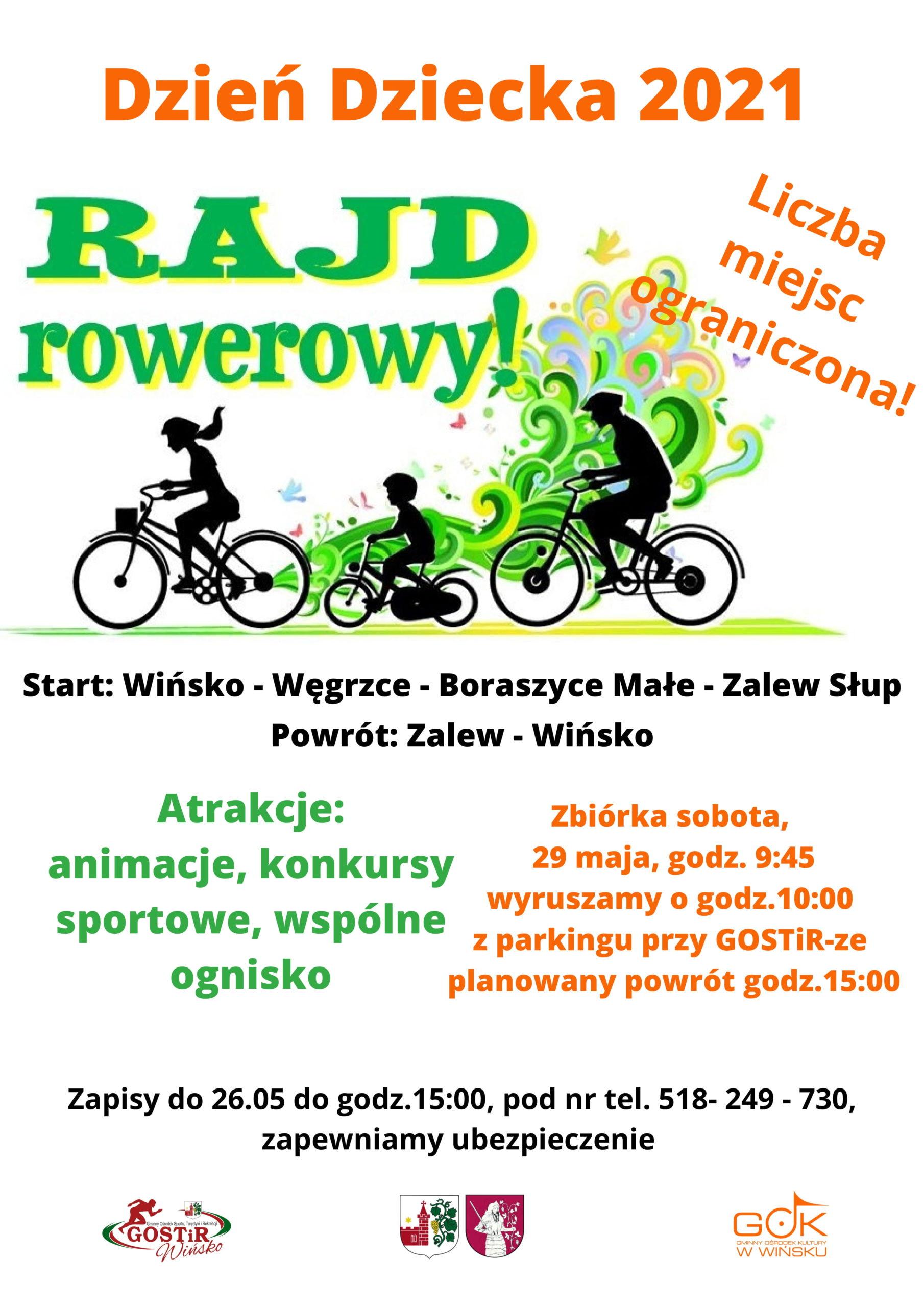 Plakat promujący Rajd Rowerowy na Dzień Dziecka.