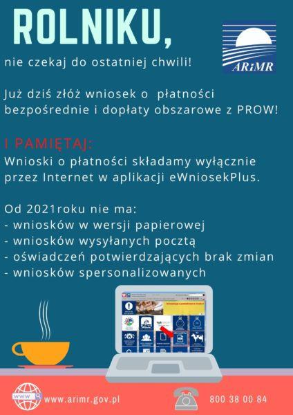 Plakat promujący informacje o płatnościach obszarowych