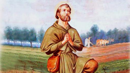 Obraz przedstawiający św. Izydora w polu. Święty ma złożone do modlitwy ręce.