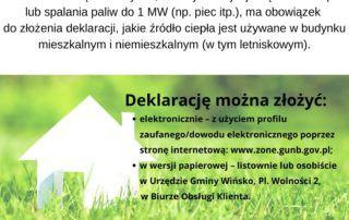 Plakat informujący o konieczności złożenia deklaracji