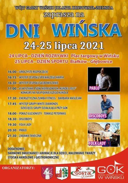 Plakat informujący o Dniach Wińska
