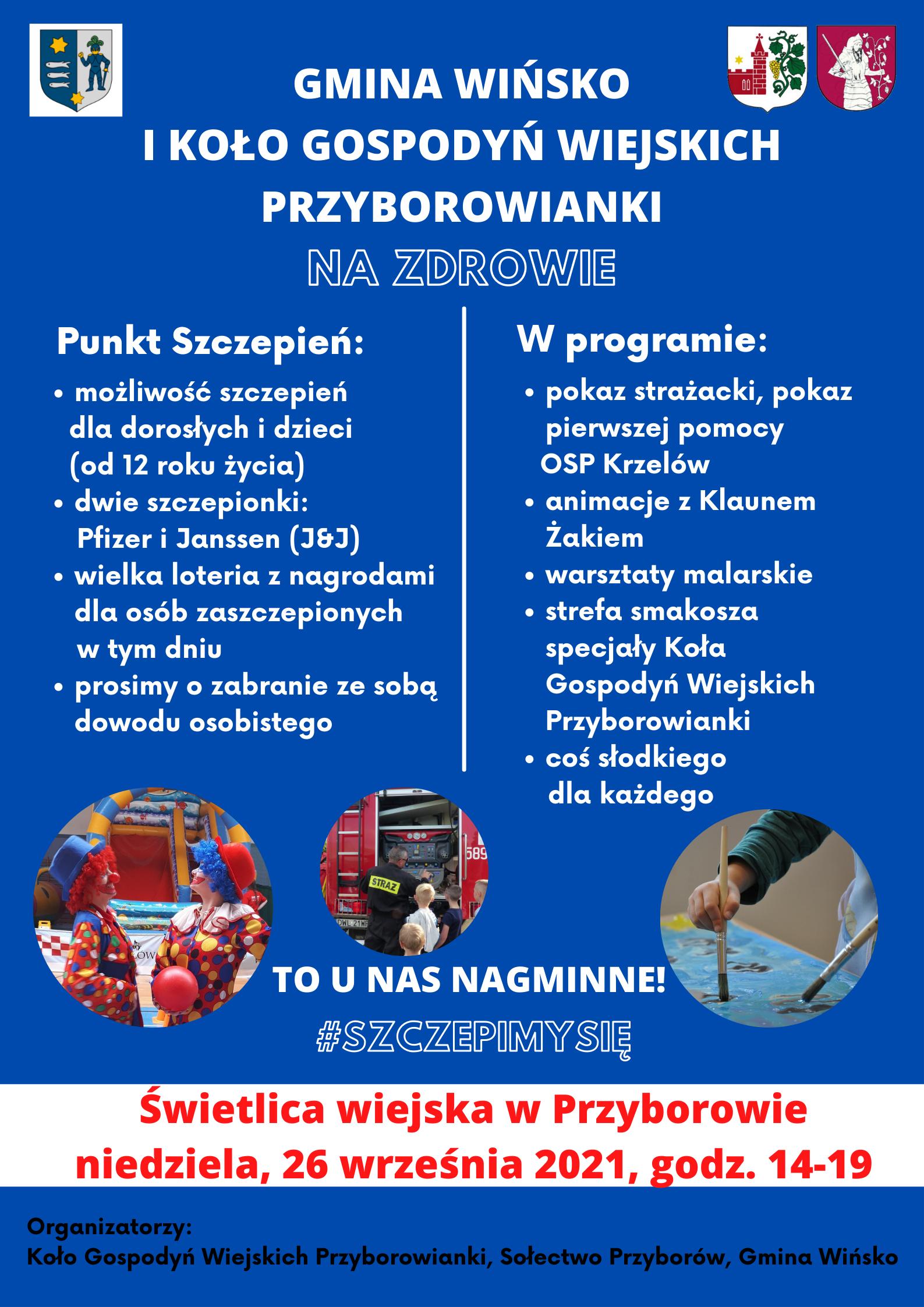 Plakat promujący akcję szczepień w Przyborowie