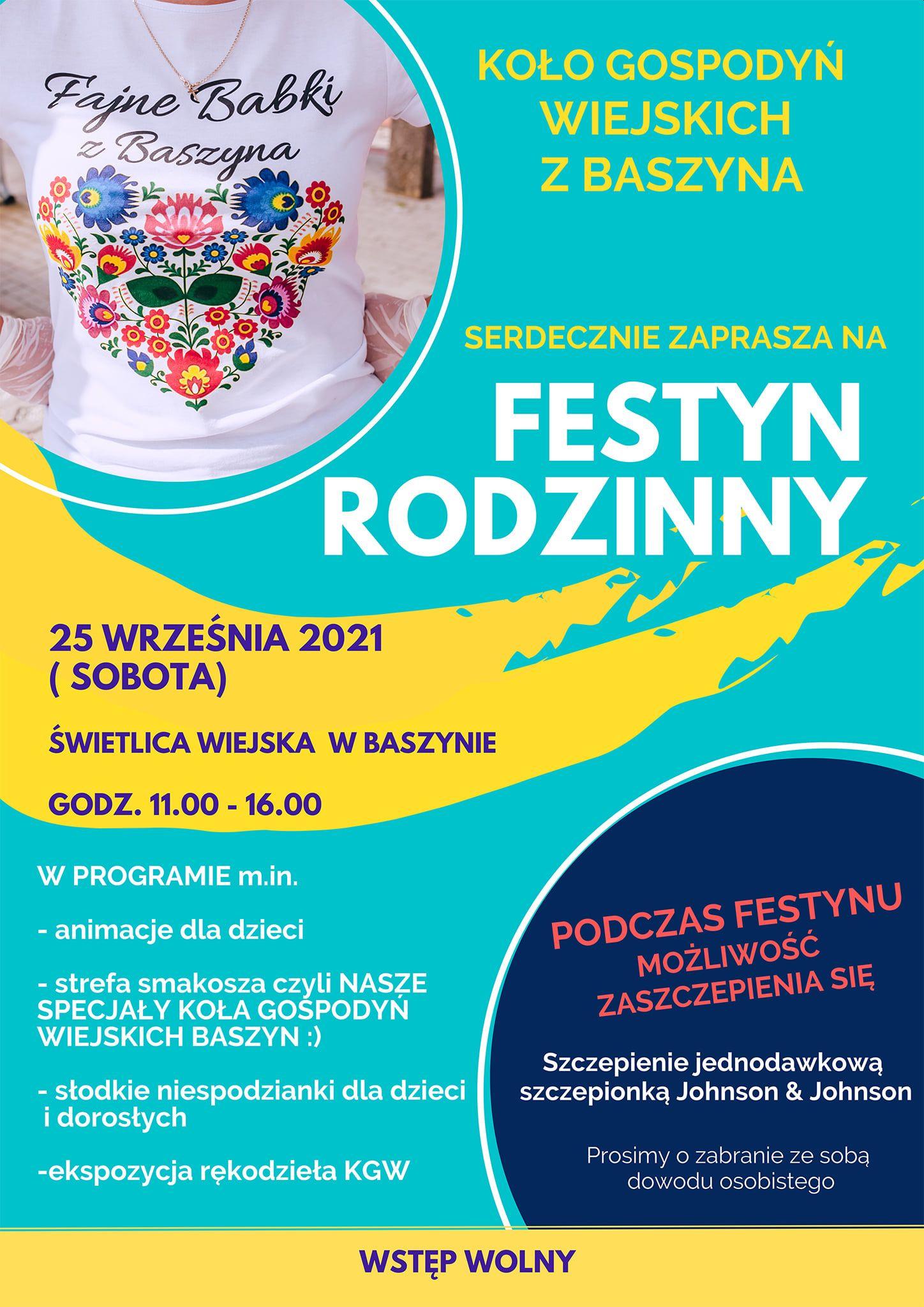 Plakat promujący festyn rodzinny w Baszynie.