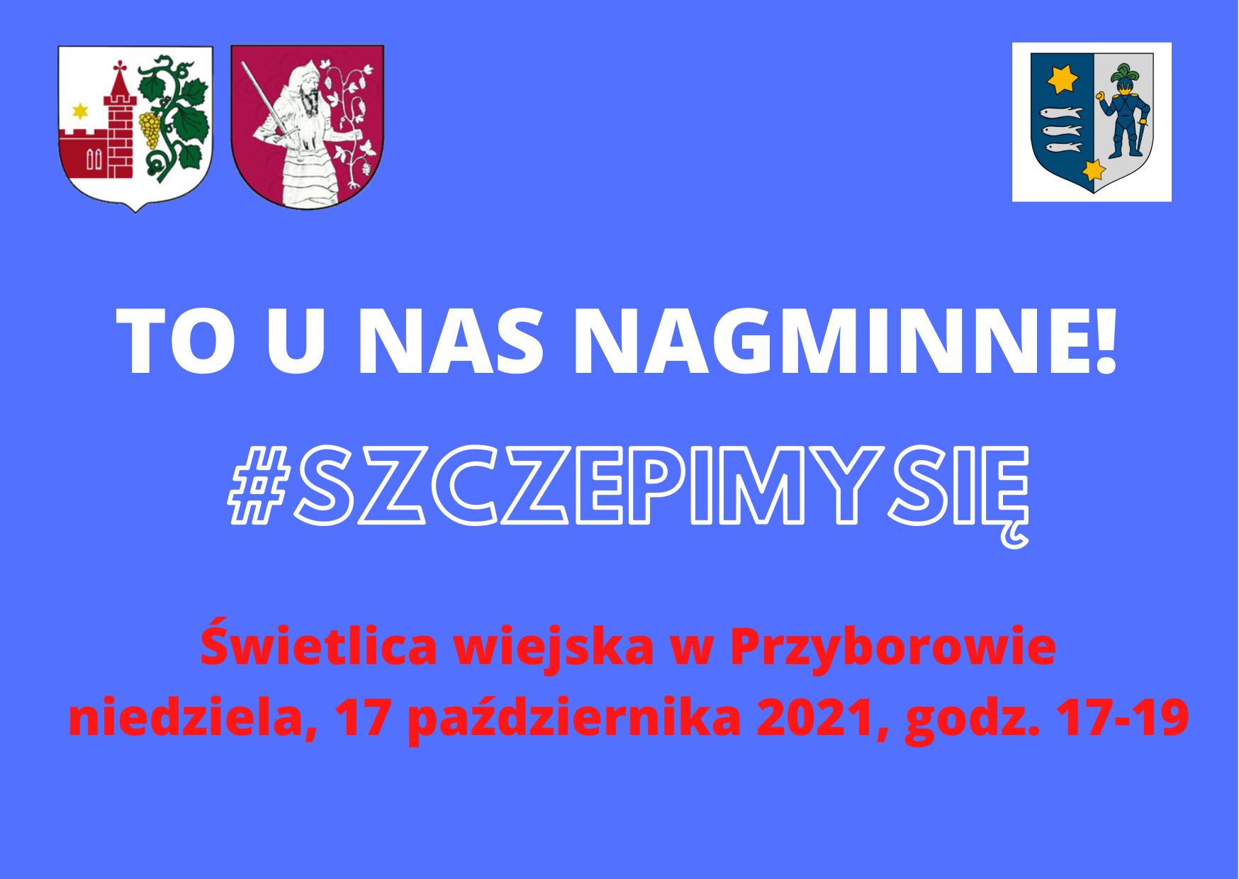Plakat promujący szczepienie w Przyborowie.