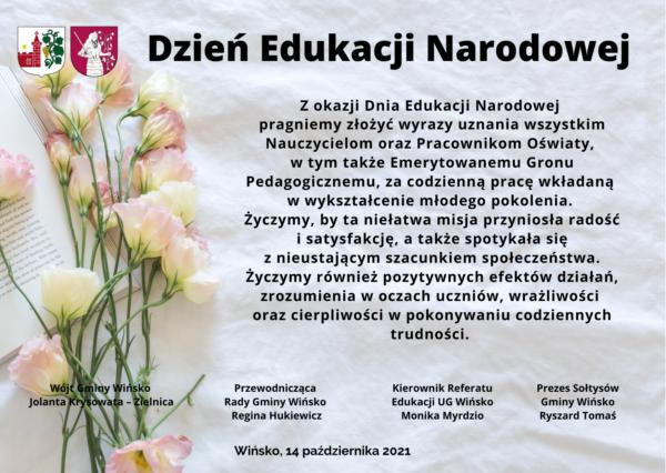 Życzenia z okazji Dnia Edukacji Narodowej.