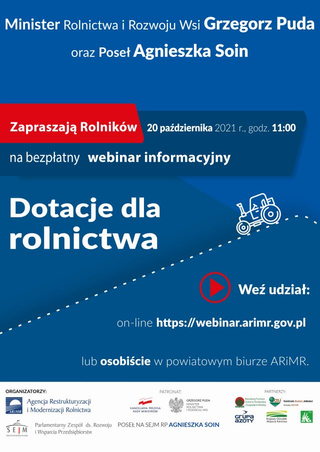 Plakat promujące webinar dla rolników.
